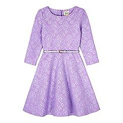 Yumi Girl - Purple Lace Long Sleeve Skater Dress