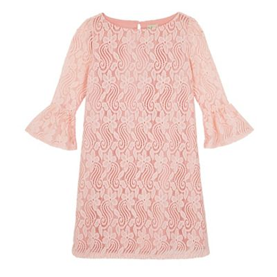 Yumi Girl Pink funnel sleeve lace shift dress - . -