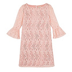 Yumi Girl - Pink funnel sleeve lace shift dress
