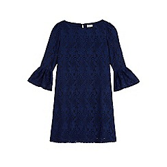 Yumi Girl - Blue funnel sleeve lace shift dress