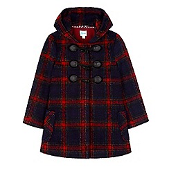 Yumi Girl - Blue check hood duffle coat