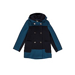Yumi Girl - Blue two tone double breasted hood coat