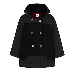 Yumi Girl - Black two tone double breasted hood coat