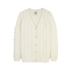 Yumi Girl - Cream fluffy cable cardigan