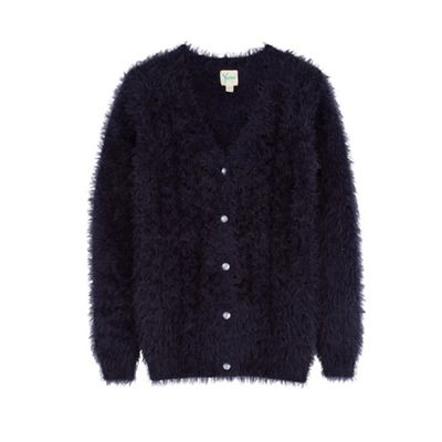 Yumi Girl Blue fluffy cable cardigan