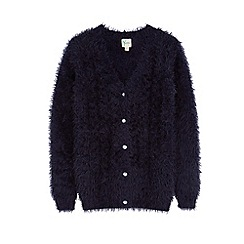 Yumi Girl - Blue fluffy cable cardigan