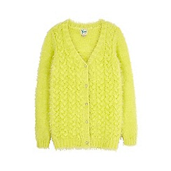 Yumi Girl - Green fluffy cable cardigan