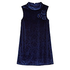 Yumi Girl - Blue velvet corsage shift dress