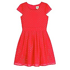 Yumi Girl - Pink foil polka dot party dress