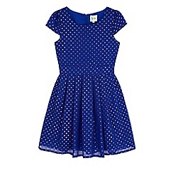 Yumi Girl - Blue foil polka dot party dress