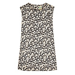Yumi Girl - Gold floral jacquard shift dress