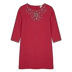Yumi Girl - Pink embellished long sleeve shift dress