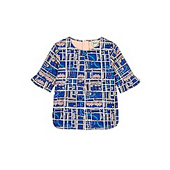 Yumi Girl - Blue notting hill print funnel sleeve shell top.