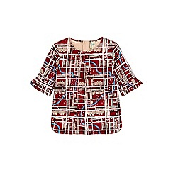 Yumi Girl - Red notting hill print funnel sleeve shell top.