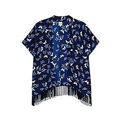 Yumi Girl - Blue butterfly print fringed kimono