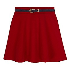 Yumi Girl - Red daisy ponte skater skirt