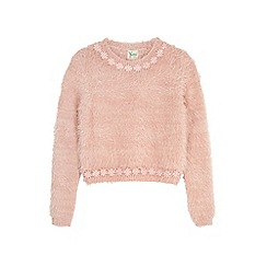 Yumi Girl - Pink daisy embellished fluffy jumper