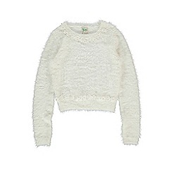 Yumi Girl - Cream daisy embellished fluffy jumper