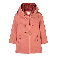 Yumi Girl - Pink heart button hooded duffle coat