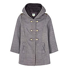 Yumi Girl - Grey heart button hooded duffle coat