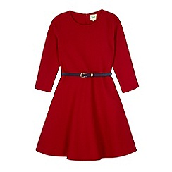 Yumi Girl - Red daisy ponte skater dress