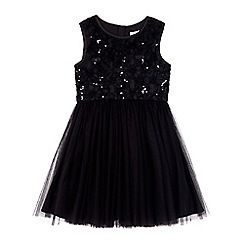 Yumi Girl - Black textured embellished rose prom dress