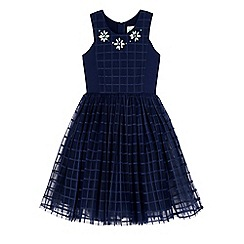 Yumi Girl - Blue grid check embellished dress