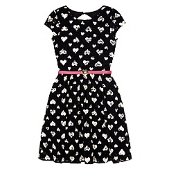 Yumi Girl - Black lace heart print dress