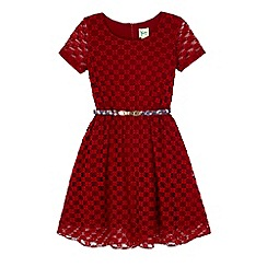 Yumi Girl - Red lace skater dress with printed belt