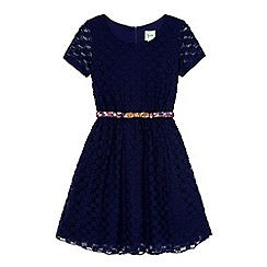 Yumi Girl - Blue lace skater dress with printed belt