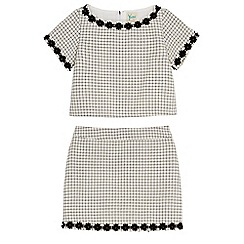 Yumi Girl - Cream daisy grid check top and skirt set