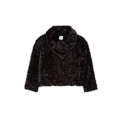 Yumi Girl - Black asymmetric faux fur jacket