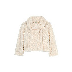 Yumi Girl - Cream asymmetric faux fur jacket