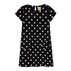 Yumi Girl - Black daisy print shift dress