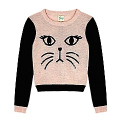 Yumi Girl - Pink cat face jumper