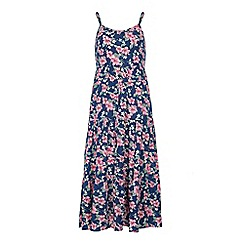 Yumi Girl - Blue Ditsy Floral Print Maxi Dress