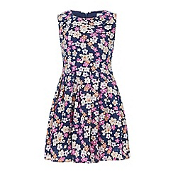 Yumi Girl - Blue Floral Print Collar Dress