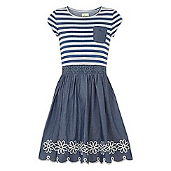 Yumi Girl - Blue Stripe Print Skater Dress