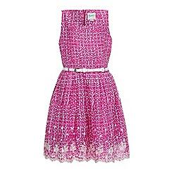 Yumi Girl - Pink Floral Print Lace Hem Dress