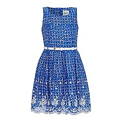 Yumi Girl - Blue Floral Print Lace Hem Dress