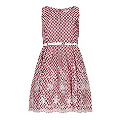 Yumi Girl - Red Butterfly Print Lace Hem Day Dress