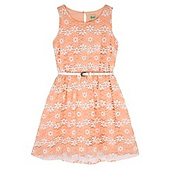 Yumi Girl - Pink Floral Lace Print Dress