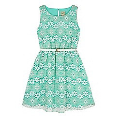 Yumi Girl - Green Floral Lace Print Dress