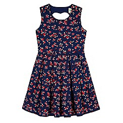 Yumi Girl - Blue Ditsy Floral Print Skater Dress