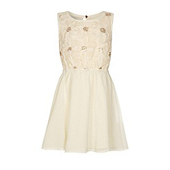 Yumi Girl - Cream Girls 3D flower embroidery dress