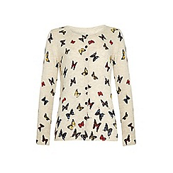 Yumi Girl - Cream Butterfly Print Cardigan