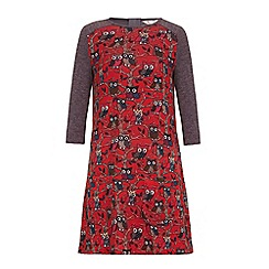 Yumi Girl - Red Owl Knit Long Sleeve Dress