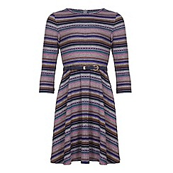 Yumi Girl - Multicoloured  Stripe Knit Dress With Belt
