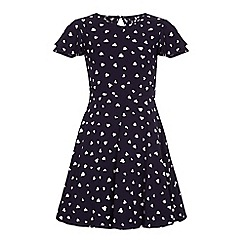 Yumi Girl - Blue Heart Printed Short Sleeve Dress