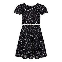 Yumi Girl - Black Lace Dress With Heart Print